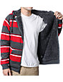 Empyre Mission Grey & Red Striped Zip Up Hoodie