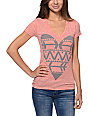 Empyre Native Heart Heather Coral V-Neck T-Shirt