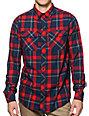 Empyre Predator Navy & Red Plaid Button Up Shirt