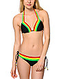 Empyre Rasta & Black Colorblock Tunnel Tie Bikini Bottom