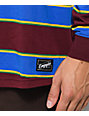 Empyre Recon Burgundy, Blue, Green & Yellow Striped Long Sleeve T-Shirt