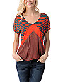 Empyre Roslyn Fire Red & Charcoal Stripe T-Shirt