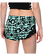 Empyre Sapphire Black & Mint Tribal Print Crochet Challis Shorts