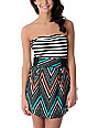 Empyre Savannah Tribal Black & White Stripe Twofer Dress