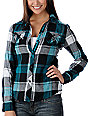 Empyre Scuffle Black & Teal Flannel Shirt