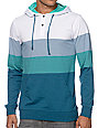 Empyre Spanaway Turquoise & White Striped Hooded Henley Shirt