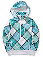 Empyre Timber White & Teal Plaid Tech Fleece Jacket