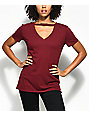 Empyre Topaz Dark Red Choker Neck T-Shirt