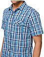 Empyre Two Fresh Blue Plaid Woven Button Up Shirt