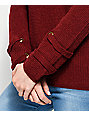 Ethos Carlee Burgundy Lace Up Sweater