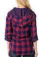 Fatal Charm Forage Plaid Red & Purple Hooded Flannel Shirt
