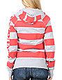 Fox Talk Rio Red & Grey Striped Zip Up Hoodie