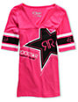 Fox x Rockstar Energy Pink V-Neck Football T-Shirt