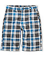 Free World B-Real Boys Aqua & Grey Plaid Shorts