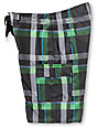 Free World Beach Break Green & Black Plaid Hybrid Shorts