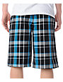 Free World Dubs Black & Blue Plaid Shorts