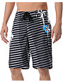 Free World Seadog 909 Black & Grey Striped 21.25 Board Shorts