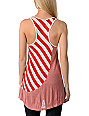 Funky Story Asymmetrical Stripe Red & Cream Tunic Tank Top