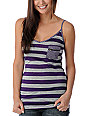 Funky Story Funky Stripe Purple Zip Tank Top