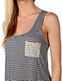 Funky Story Thin Navy Stripe Tank Top