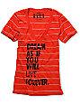 Glamour Kills Live Forever Tomorrow Red Stripe V-Neck T-Shirt