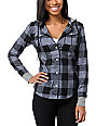 Glamour Kills The Observer Grey & Black Plaid Hooded Shirt