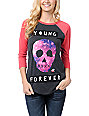 Glamour Kills Young Forever Charcoal & Pink Baseball Tee