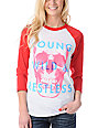 Glamour Kills Young Wild Restless White & Red Baseball Tee