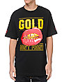 Gold Wheels Dont Front Black T-Shirt
