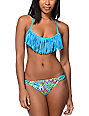 Gossip Blue Fringe Molded Cup Bikini Top