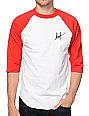 HUF Classic Script Red & White Baseball T-Shirt