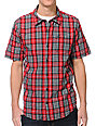 LRG CC Plaid Red Woven Short Sleeve Button Up Shirt