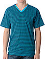 LRG CC Striped Turquoise V-Neck T-Shirt