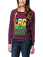 LRG Eat More Greens Maroon Raglan Top