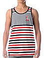 LRG Letterman White & Black Striped Tank Top