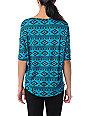 Lira Aztec Print Turquoise Rayon Top