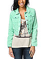 Lost Caper Seafoam Mint Green Cropped Denim Jacket