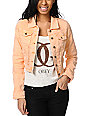 Lost Caper Tarte Coral Cropped Denim Jacket