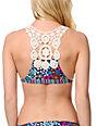Lost Swimwear Prairie Crochet Racerback Halter Bikini Top