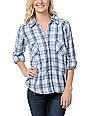 Love, Fire Blue Plaid Lace Back Button Up Flannel Shirt