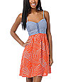 Love, Fire Coral Orange Eyehook Bodice Dress
