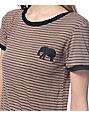 Lunachix Elephant Mocha & Black Stripe Ringer T-Shirt