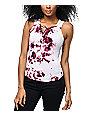 Lunachix Lara Burgundy Tie Dye Lace Up Tank Top