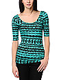 Lunachix Teal & Black Tribal Print Scoop Fitted Top