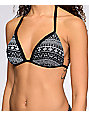 Malibu Alien Aztec Black & White Molded Push Up Bikini Top