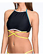 Malibu Colorblock Black High Neck Halter Bikini Top