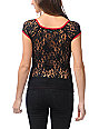 Metal Mulisha Alluring Lace-Back Red V-neck Top