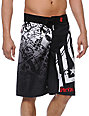 Metal Mulisha Hoist Black, White & Red Board Shorts