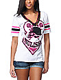 Metal Mulisha St-shirtl White V-Neck Football T-Shirt