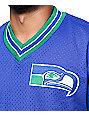 Mitchelll & Ness Seahawks Blue V Neck Mesh Jersey